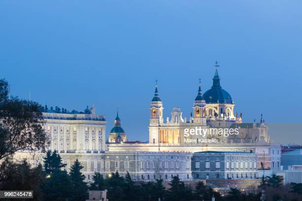 Almudena Cathedral and Royal Palace in Madrid, Spain.