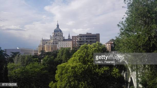 Almudena cathedral and Segovia bridge. Madrid, Spain