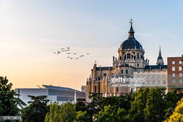 Almudena Cathedral of Madrid. Skyline at sunset