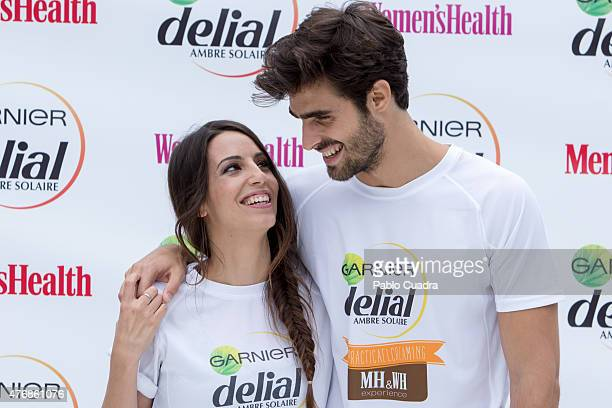 Almudena Cid and Juan Betancourt present the new 'Delial UV Sport' product at Urban Camp on June 12 2015 in Madrid Spain