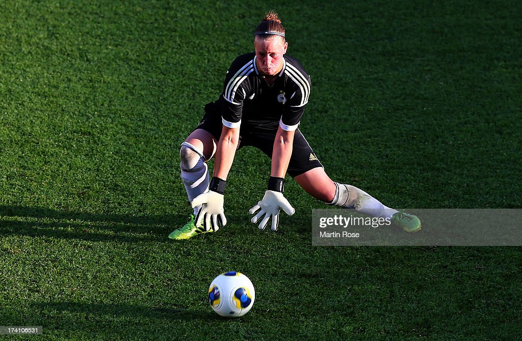 Almuth Schult, goalkeeper of Germany makes a save during the training session of Germany at Vaxjo Arena on July 20, 2013 in Vaxjo, Sweden.