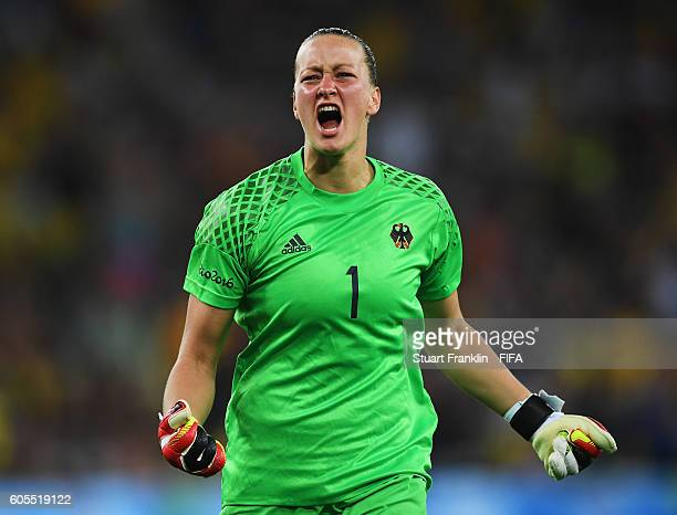 Almuth Schult of Germany celebrates the goal during the Olympic Women's Football final between Sweden and Germany at Maracana Stadium on August 19...