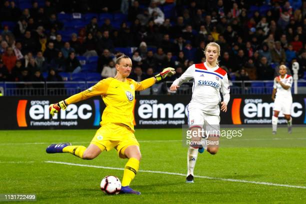 Almuth Schult of Wolfsburg and Hegerberg Ada of Lyon during the Women's Champions League match between Lyon and Wolfsburg on March 20 2019 in Lyon...
