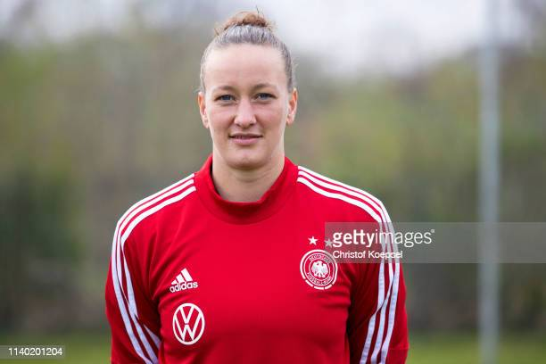 Almuth Schult poses during the Germany Women's Team Presentation at Training Ground of HotelResidence Klosterpforte on April 03 2019 in Harsewinkel...