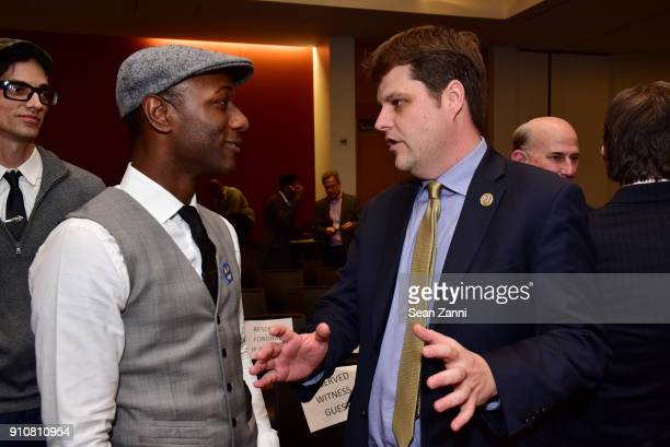 Aloe Blacc and Matt Gaetz attend 60th Annual GRAMMY Awards House Judiciary Hearing at Fordham Law School on January 26 2018 in New York City