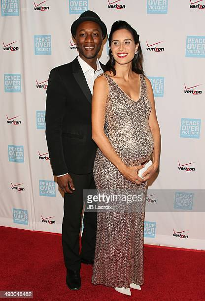 Aloe Blacc and Maya Jupiter attend the Peace Over Violence 44th annual Humanitarian Awards held at the Dorothy Chandler Pavilion on October 16 2015...