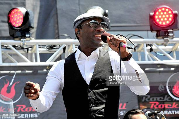 Aloe Blacc performs at Petco Park following the Suja Rock 'n' Roll San Diego Marathon Half Marathon benefitting the Leukemia Lymphoma Society on June...