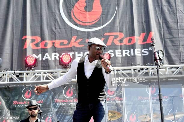 Aloe Blacc performs at Petco Park following the Suja Rock 'n' Roll San Diego Marathon Half Marathon benefitting the Leukemia Lymphoma Society on June...