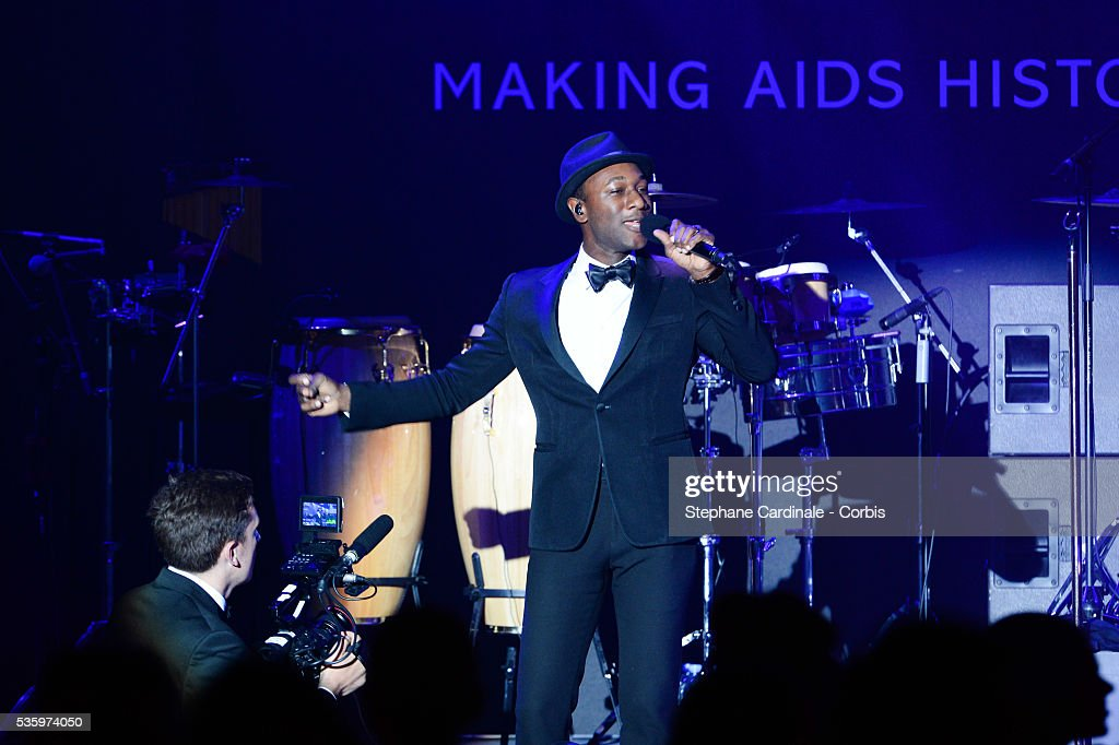 Aloe Blacc performs at the amfAR's 21st Cinema Against AIDS Gala at Hotel du Cap-Eden-Roc during the 67th Cannes Film Festival