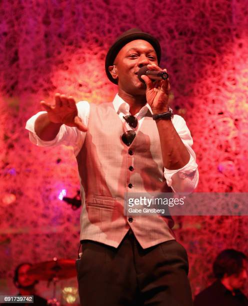Aloe Blacc performs at the Couture Las Vegas jewelry show at Wynn Las Vegas on June 2 2017 in Las Vegas Nevada