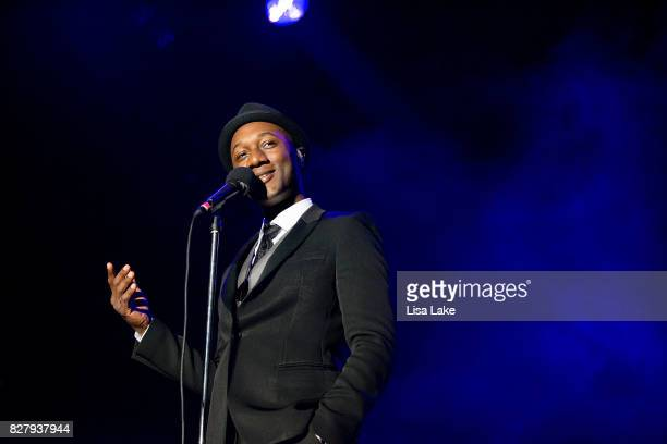 Aloe Blacc performs during Musikfest at PNC Plaza on the Sands Steel Stage on August 8 2017 in Bethlehem Pennsylvania