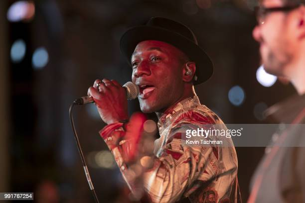 Aloe Blacc performs during the amfAR Paris Dinner at The Peninsula Hotel on July 4 2018 in Paris France