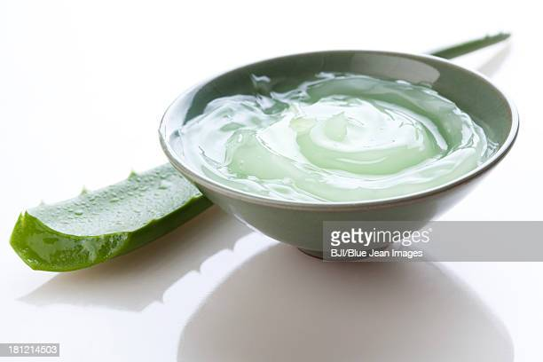 Aloe vera gel and fresh aloe leaf