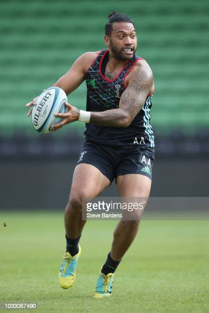 Alofa Alofa of Harlequins in action during the captain's run at Twickenham Stoop on September 14 2018 in London England