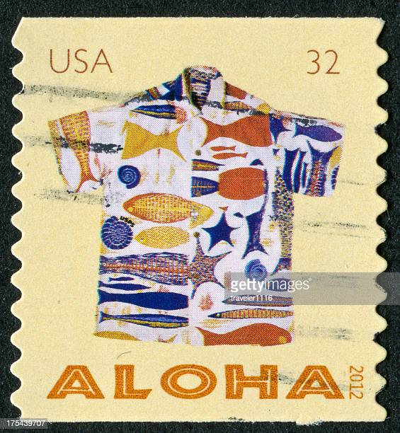 aloha shirt stamp - aloha stock pictures, royalty-free photos & images