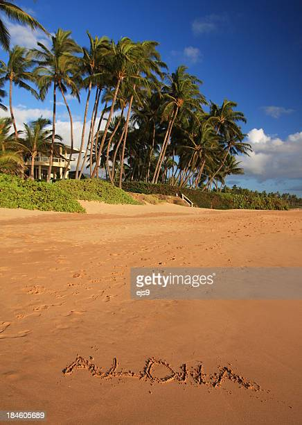 aloha written in maui hawaii resort hotel sand beach - aloha stock pictures, royalty-free photos & images