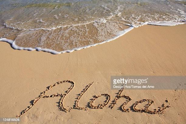 aloha written in the sand of a Hawaiian beach