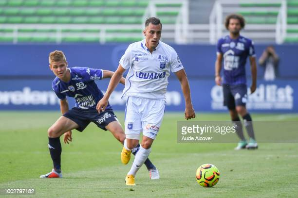 Yoann Touzghar of Troyes and Carlens Arcus of Auxerre during the friendly match between Troyes and Auxerre at Stade de l'Aube on July 20 2018 in...