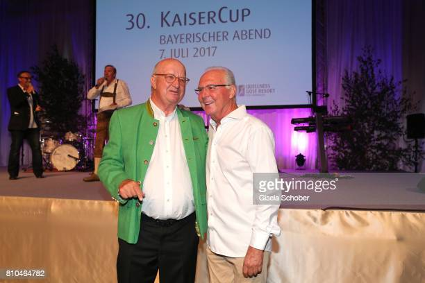 Alois Hartl and Franz Beckenbauer during a bavarian evening ahead of the Kaiser Cup 2017 at the Quellness Golf Resort on July 7 2017 in Bad Griesbach...