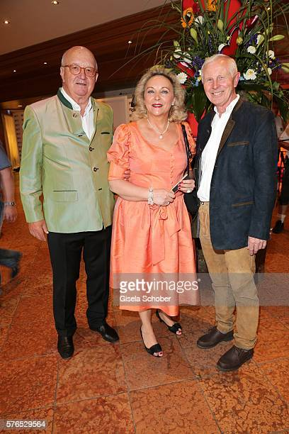 Alois Hartl and his wife Gabriele Hartl and Hans Dieter Cleven during a bavarian evening ahead of the Kaiser Cup 2016 on July 15 2016 in Bad...