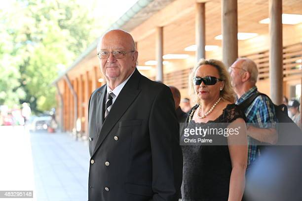 Alois Hartl and his wife Gabriele Hartl during the memorial service for Stephan Beckenbauer at church 'St Heilige Familie' on August 7 2015 in Munich...