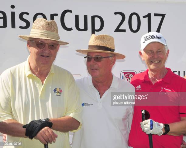 Alois Hartl President of the Quellness Golf Resort Bad Griesbach soccer legend Franz Beckenbauer and entrepreneur HansDieter Cleven photographed...