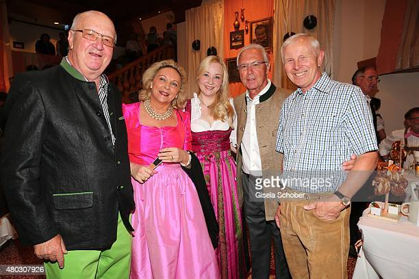 Alois Hartl with his wife Gabriele Hartl and daughter Victoria Hartl Franz Beckenbauer HansDieter Cleven during a Bavarian Evening ahead of the...