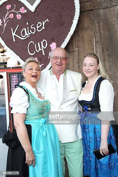 Alois Hartl with wife Gabriele Hartl and daughter Victoria Hartl attend the get together at 'Bayerischer Abend' prior the Kaiser Cup 2014 at hotel...
