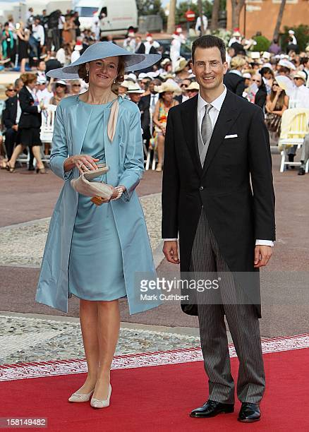 Alois Hereditary Prince Of Liechtenstein And Sophie Princess Of Bavaria Arriving For The Wedding Of Prince Albert Ii Of Monaco And Charlene Wittstock...