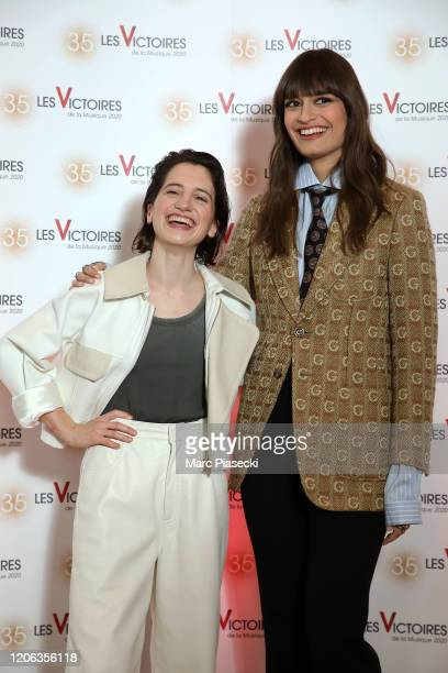 Aloise Sauvage and Clara Luciani attend the 35th 'Les Victoires De La Musique' photocall At La Seine Musicale on February 14 2020 in...
