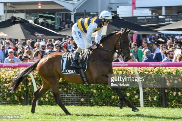 Aloisia ridden by Luke Nolen heads to the barrier before the Kennedy Oaks at Flemington Racecourse on November 09 2017 in Flemington Australia
