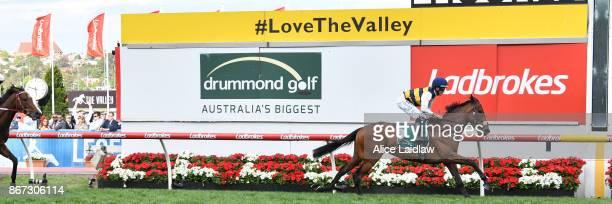 Aloisia ridden by Luke Nolen wins the Drummond Golf Vase at Moonee Valley Racecourse on October 28 2017 in Moonee Ponds Australia