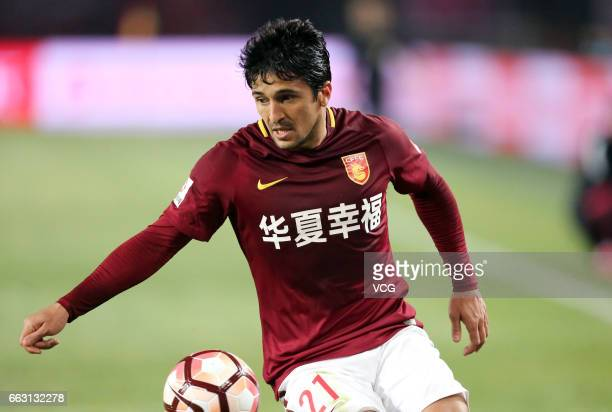 Aloisio of Hebei China Fortune FC follows the ball during the 3rd round match of CSL Chinese Football Association between Hebei China Fortune FC and...