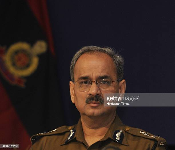 Alok Kumar Verma Special Commissioner of Police during the Annual Press Conference at India Habitat Centre on January 3 2014 in New Delhi India There...