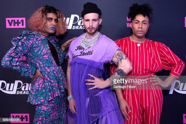 Alok VaidMenon Nico Tortorella and Travis Alabanza attend RuPaul's Drag Race Season 10 Meet The Queens at TRL Studios on March 21 2018 in New York...