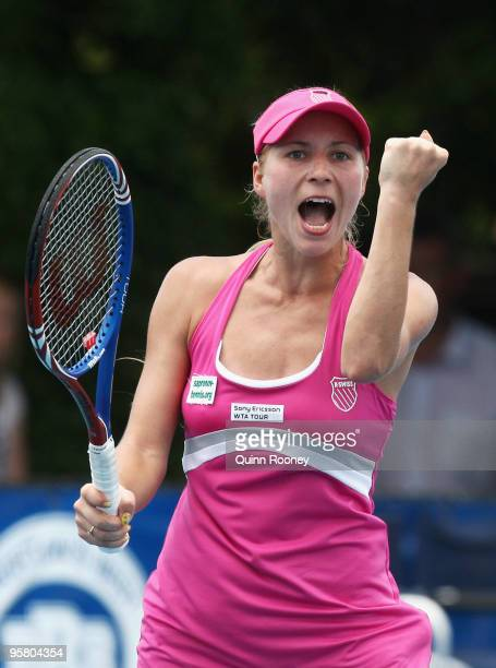 Alona Bondarenko of the Ukraine celebrates winning match point in her singles finals match against Shahar Peer of Israel during day nine of the...