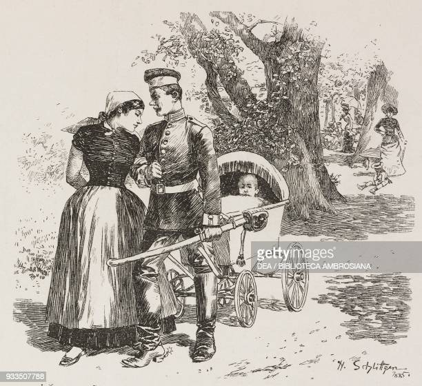 a nanny with her soldier boyfriend pulling a child in an old pram illustration from Fliegende Blaetter humour and satire magazine No 2096 1885