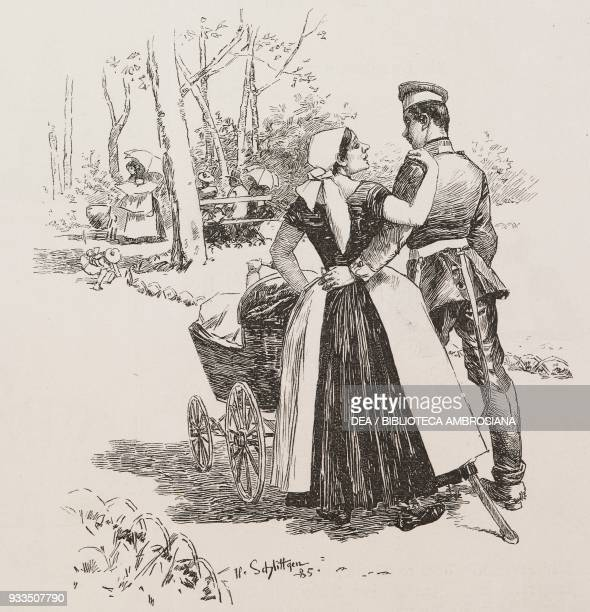 a nanny with her soldier boyfriend pushing a baby in a new pram illustration from Fliegende Blaetter humour and satire magazine No 2096 1885