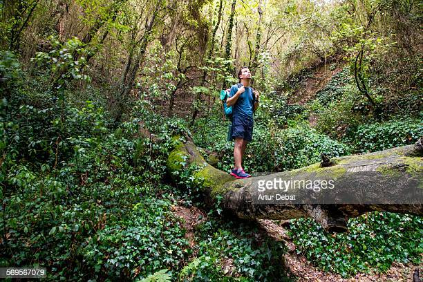alone hiker on a trip between the nature. - wonderlust stock pictures, royalty-free photos & images