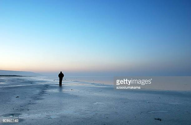 alone in the blue landscape