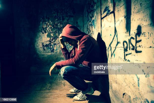 alone in the dark - homeless stock photos and pictures