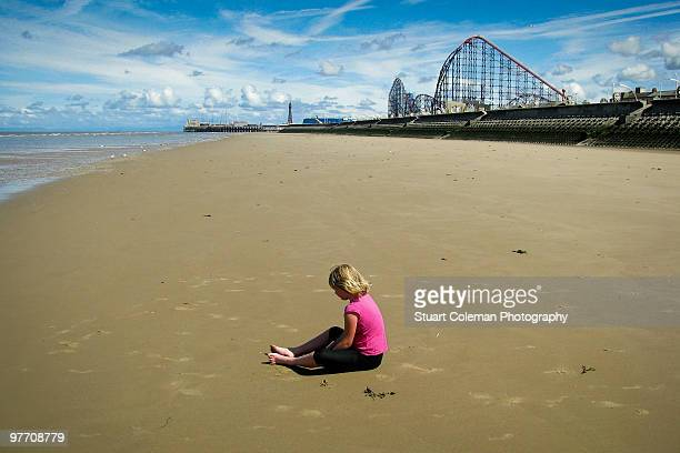 alone - blackpool beach stock pictures, royalty-free photos & images