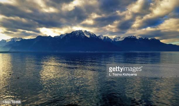 along on lake geneva, switzerland - montreux stock pictures, royalty-free photos & images