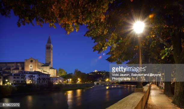 Along the Adige River in Verona, Italy at Twilight