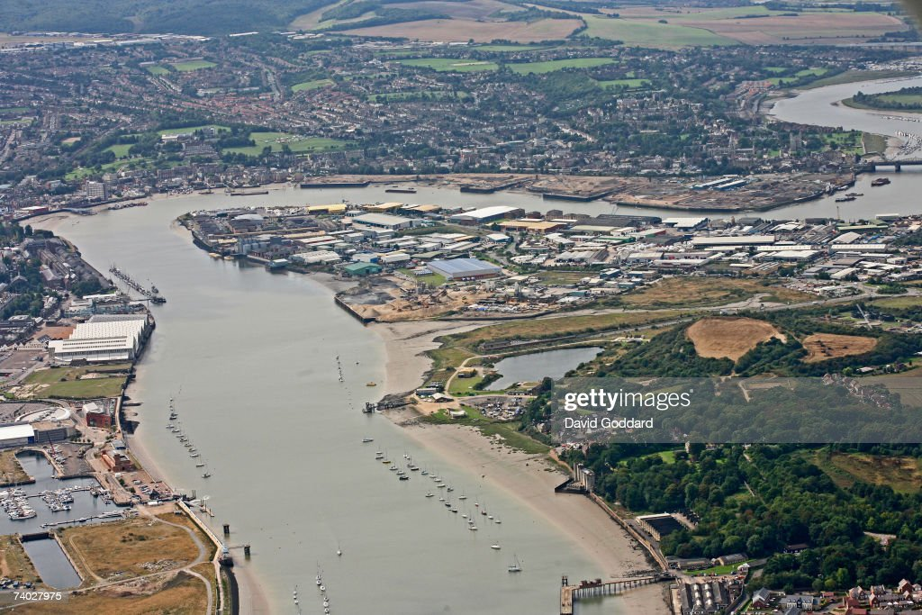 The River Medway and Chatham Docks: An Aerial View : News Photo
