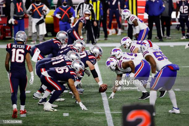 Along the line of scrimmage during a game between the New England Patriots and the Buffalo Bills on December 28 at Gillette Stadium in Foxborough,...