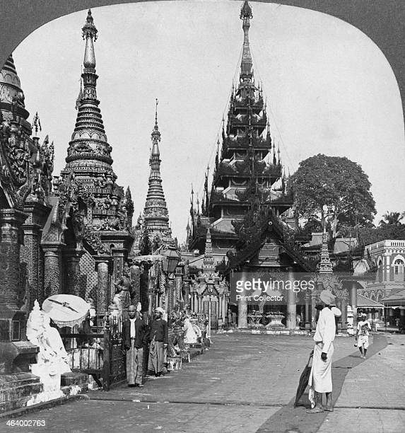 Along the platform to the southern ascent Shwedagon Pagoda Rangoon Burma 1908 Buddhist tradition holds that the Shwedagon Pagoda was built before the...