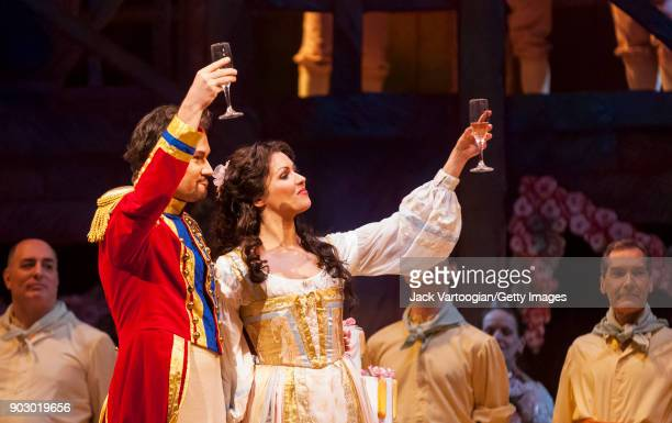 Along with the company Polish baritone Mariusz Kwiecien and Russian soprano Anna Netrebko perform during the final dress rehearsal of Act 2 of the...