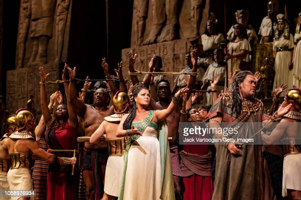 Along with the company Russian soprano Anna Netrebko performs in her first Met Opera 'Aida' with American baritone Quinn Kelsey at the final dress...