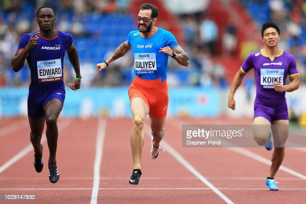 Alonso Edward of Team Americas Ramil Guliyev of Team Europe and Yuki Koike of Team AsiaPacific compete in the Mens 200 Metres during day one of the...